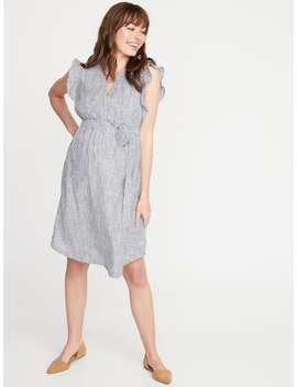 Maternity Patterned Tie Belt Shirt Dress by Old Navy