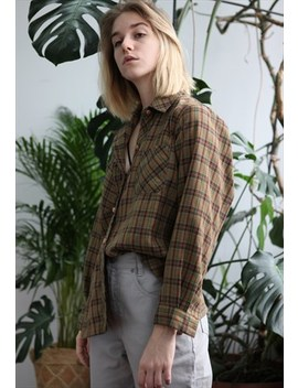 Vintage 90s Checked Oversized Shirt by Lucky Girl Vintage