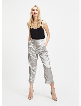 Silver Straight Leg Trousers by Miss Selfridge