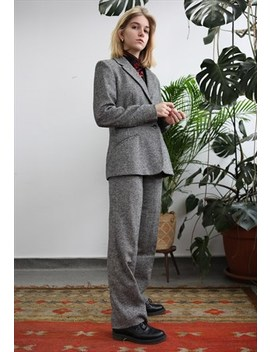 Vintage 90s Grey Casual Wool Suit by Lucky Girl Vintage