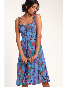 Blended Blue Floral Print Button Up Midi Dress by Astr The Label