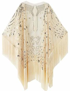 Babeyond 1920s Sequin Beaded Shawl Wraps Fringed Evening Cape Scarf For Wedding by Babeyond