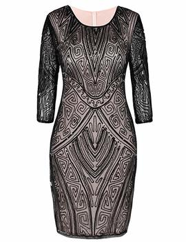 Pretty Guide Women 1920s Flapper Dress Beaded Deco Long Sleeve Cocktail Gatsby Dress by Pretty Guide