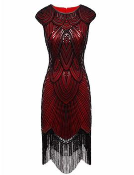 Fairy Couple 1920s Sequined Embellished Tassels Hem Flapper Dress D20 S002 by Fairy Couple