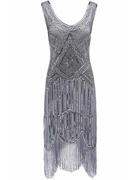 Babeyond 1920s Flapper Dress Roaring 20s Great Gatsby Costume Dress Fringed Sequin Dress Embellished Art Deco Dress by Babeyond