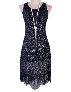 Vijiv Women's 1920s Gastby Sequined Embellished Fringed Paisley Flapper Dress by Vijiv