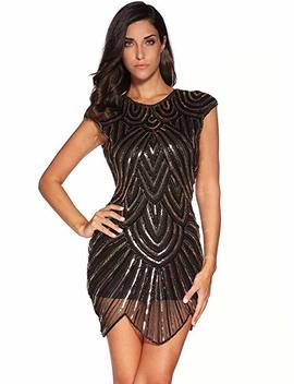 Women's 1920s Vintage Gatsby Sequin Embellished Flapper Dress by Meilun