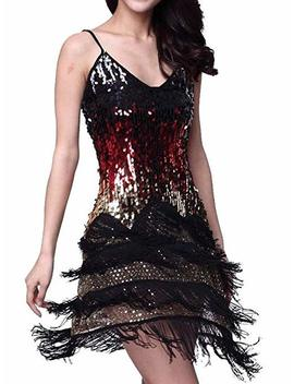 Vijiv Women's Adjustable Strap Gradient Sequin Fringe Dance Party Dress by Vijiv
