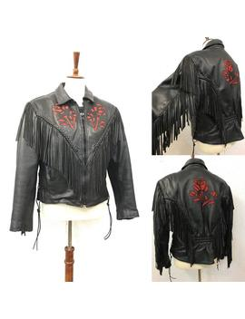 Vintage 80's Black Leather Fringe Biker Jacket With Suede Rose Cutouts Size Large Listing 7731 by Etsy