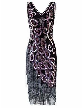 Vijiv Women's Vintage 1920s Style Peacock Sequin Roaring 20s Gatsby Party Flapper Dress by Vijiv