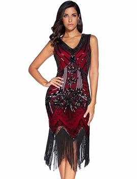 Meilun 1920s Sequined Vintage Dress Beaded Gatsby Flapper Evening Dress Prom by Meilun