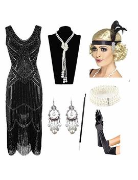 1920s Gatsby Sequin Fringed Paisley Flapper Dress With 20s Accessories Set by Esrtyeryh Women Costume