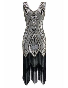 Metme Women's 1920s Vintage Flapper Fringe Beaded Great Gatsby Party Dress by Metme