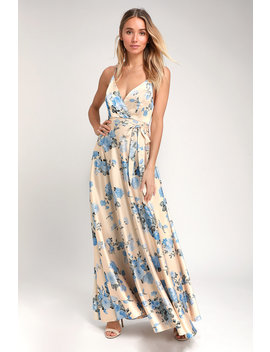 Overjoyed Champagne Satin Floral Print Maxi Dress by Lulus