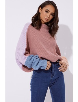 Siennah Colour Block High Neck Jumper by In The Style