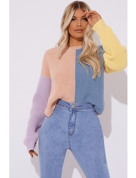 Bonnita Pastel Colour Block Crew Neck Jumper by In The Style