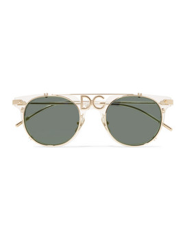 D Frame Acetate And Gold Tone Sunglasses by Dolce & Gabbana