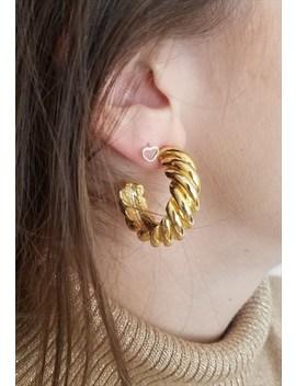 90's Vintage 3/4 Hoop Gold Earrings With Twist Pattern by Boho Kimono