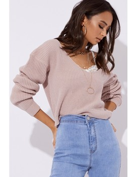 Harlo Nude V Plunge Knitted Jumper by In The Style