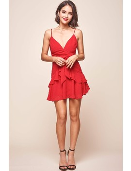 Kerry Layered Ruffle Dress Red by Selfie Leslie