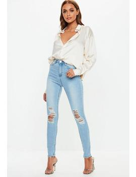 Light Blue Sinner Distressed Knee High Waisted Skinny Jeans by Missguided