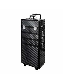 Makeup Train Case, Warmie Homy 4 In 1 Aluminum Rolling Vanity Makeup Trolley Case Professional Beautician Artist Travel Jewellery Box Cosmetic Organiser Black W/ 2 Wheels(Diamond Black) by Warmiehomy