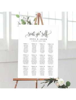 Seat Yo' Self Wedding Seating Chart Template, Seating Chart Printable, Seating Board, Templett, Instant Download, Modern #Spp013iise by Etsy