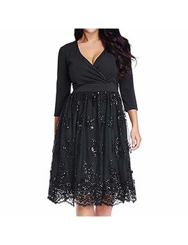 Zaful Women's Plus Size 3/4 Sleeve Surplice Sequin Mesh A Line Skater Dress by Zaful