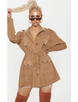 Tan Cord Oversized Jacket  by Prettylittlething