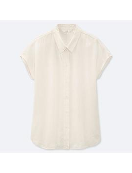 Women Linen Blend Short Sleeved Blouse by Uniqlo