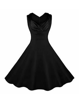 Killreal Women's 1950s Cut Out V Neck Vintage Casual Party Cocktail Swing Dress Black by Killreal