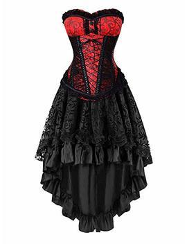 Killreal Women's Halloween Party Masquerade Brocade Lace Gothic Corset Skirt Set by Killreal