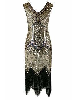 Killreal Women's Vintage Inspired Beaded Sequin Cocktail Banquet Evening Dress by Killreal