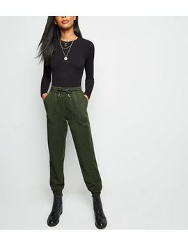 Khaki Denim Joggers by New Look