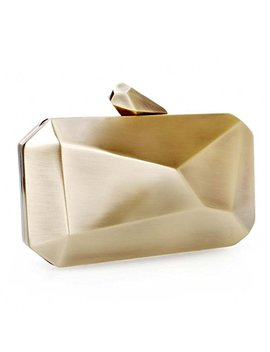 Bmc Womens Alloy Metal Abstract Stone Cut Hardcase Fashion Clutch Chain Handbag by B.M.C