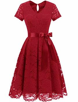 Dresstells Women's Elegant Bridesmaid Dress Floral Lace Party Swing Dresses With Short Sleeves by Dresstells