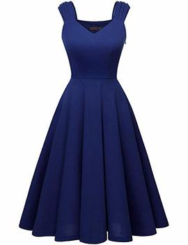 Dresstells Women's Bridesmaid Vintage Tea Dress V Neck Prom Party Swing Cocktail Dress by Dresstells