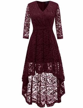 Dresstells Women's Bridesmaid Dress Hi Lo Floral Lace Cocktail Party Swing Dress by Dresstells