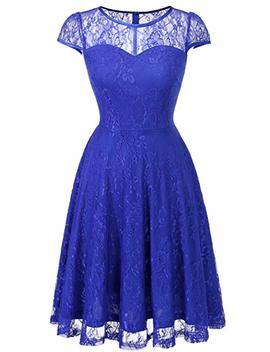 Dresstells Women's Bridesmaid Dress Retro Lace Swing Party Dresses With Cap Sleeves by Dresstells