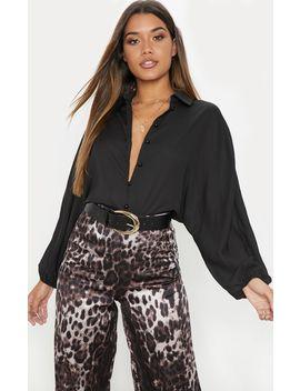 Black Chiffon Button Up Oversized Shirt by Prettylittlething