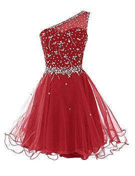 Dresstells Short One Shoulder Prom Dresses Tulle Homecoming Dress With Beads by Dresstells