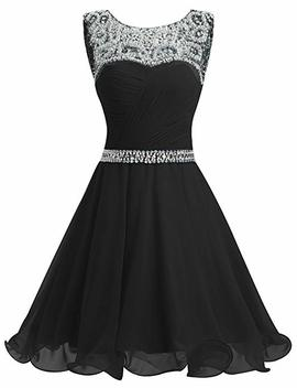 Dresstells Short Homecoming Dress Ruched Chiffon Prom Party Dress With Beads by Dresstells