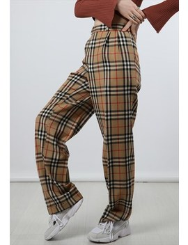 Vintage Burberry Large Beige Nova Check Trousers by Burberry