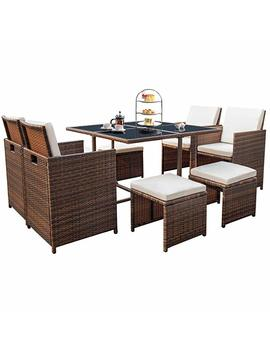 Devoko 9 Pieces Patio Dining Sets Outdoor Space Saving Rattan Chairs With Glass Table Patio Furniture Sets Cushioned Seating And Back Sectional Conversation Set (Brown) by Devoko