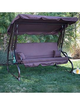 Belleze Patio Outdoor Padded Porch Swing Bed With Adjustable Tilt Canopy, (Dark Brown) by Belleze