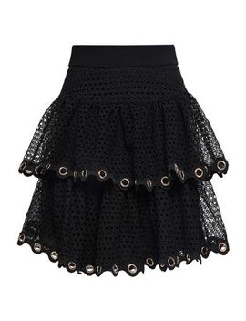 Embellished Tiered Guipure Lace Mini Skirt by Maje