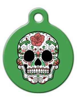 Dia De Los Muertos Sugar Skull In Green Pet Id Tag For Dogs And Cats   Dog Tag Art by Dog Tag Art