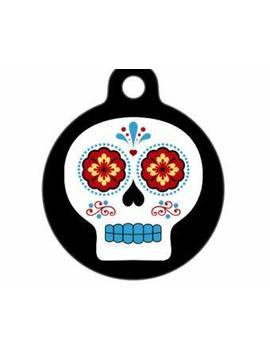 Qm Pet Id Tag   Día De Muertos Skull by Qm Pet Id Tag