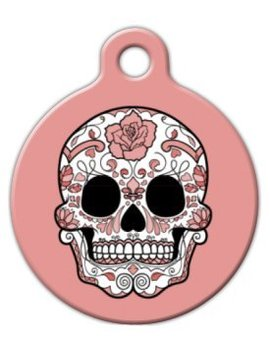 Peach Dia De Los Muertos Pet Id Tag For Dogs And Cats   Dog Tag Art by Dog Tag Art