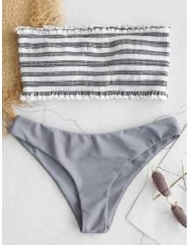 Zaful Stripe Smocked Bandeau Bikini Set   Gray Cloud L by Zaful